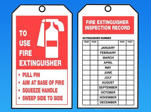 Fire Extinguisher Inspection Tag Psci 00012 Paramount
